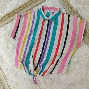 Vintage Crop waist tying 1980s Shirt 🌈 Stripe Med